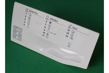 Parti Estetiche Lavatrici - Maniglia cassetto detersivo serigrafie in inglese Hotpoint originale Nuovo
