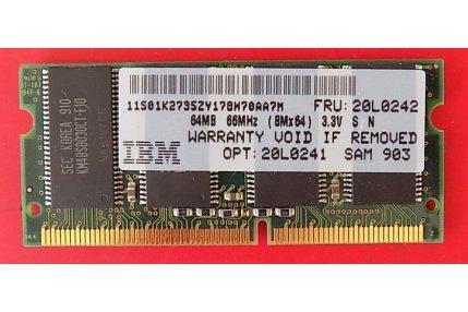 Memorie PC - MEMORIA RAM IBM 466S823AT2 64MB - CODICE A BARRE 11S01K2735ZY178W70AA7M FRU 20L0242