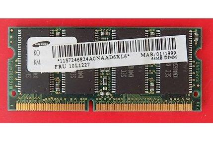 Memorie PC - MEMORIA RAM IBM AD0964-05 64MB - CODICE A BARRE 11S7246824A0NAAD6XL6 FRU 10L1227